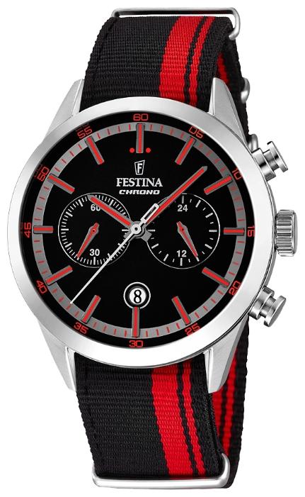 Festina F16827.4 - мужские наручные часы из коллекции ChronographFestina<br><br><br>Бренд: Festina<br>Модель: Festina F16827/4<br>Артикул: F16827.4<br>Вариант артикула: None<br>Коллекция: Chronograph<br>Подколлекция: None<br>Страна: Испания<br>Пол: мужские<br>Тип механизма: кварцевые<br>Механизм: MOS21<br>Количество камней: None<br>Автоподзавод: None<br>Источник энергии: от батарейки<br>Срок службы элемента питания: None<br>Дисплей: стрелки<br>Цифры: отсутствуют<br>Водозащита: WR 50<br>Противоударные: None<br>Материал корпуса: нерж. сталь<br>Материал браслета: текстиль<br>Материал безеля: None<br>Стекло: минеральное<br>Антибликовое покрытие: None<br>Цвет корпуса: None<br>Цвет браслета: None<br>Цвет циферблата: None<br>Цвет безеля: None<br>Размеры: 44 мм<br>Диаметр: None<br>Диаметр корпуса: None<br>Толщина: None<br>Ширина ремешка: None<br>Вес: None<br>Спорт-функции: секундомер<br>Подсветка: стрелок<br>Вставка: None<br>Отображение даты: число<br>Хронограф: есть<br>Таймер: None<br>Термометр: None<br>Хронометр: None<br>GPS: None<br>Радиосинхронизация: None<br>Барометр: None<br>Скелетон: None<br>Дополнительная информация: None<br>Дополнительные функции: None