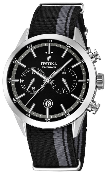 Festina F16827.3 - мужские наручные часы из коллекции ChronographFestina<br><br><br>Бренд: Festina<br>Модель: Festina F16827/3<br>Артикул: F16827.3<br>Вариант артикула: None<br>Коллекция: Chronograph<br>Подколлекция: None<br>Страна: Испания<br>Пол: мужские<br>Тип механизма: кварцевые<br>Механизм: None<br>Количество камней: None<br>Автоподзавод: None<br>Источник энергии: от батарейки<br>Срок службы элемента питания: None<br>Дисплей: стрелки<br>Цифры: отсутствуют<br>Водозащита: WR 50<br>Противоударные: None<br>Материал корпуса: нерж. сталь<br>Материал браслета: текстиль<br>Материал безеля: None<br>Стекло: минеральное<br>Антибликовое покрытие: None<br>Цвет корпуса: None<br>Цвет браслета: None<br>Цвет циферблата: None<br>Цвет безеля: None<br>Размеры: 44x11 мм<br>Диаметр: None<br>Диаметр корпуса: None<br>Толщина: None<br>Ширина ремешка: None<br>Вес: None<br>Спорт-функции: секундомер<br>Подсветка: стрелок<br>Вставка: None<br>Отображение даты: число<br>Хронограф: есть<br>Таймер: None<br>Термометр: None<br>Хронометр: None<br>GPS: None<br>Радиосинхронизация: None<br>Барометр: None<br>Скелетон: None<br>Дополнительная информация: None<br>Дополнительные функции: None