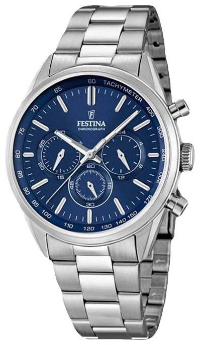 Festina F16820.2 - мужские наручные часы из коллекции ChronographFestina<br><br><br>Бренд: Festina<br>Модель: Festina F16820/2<br>Артикул: F16820.2<br>Вариант артикула: None<br>Коллекция: Chronograph<br>Подколлекция: None<br>Страна: Испания<br>Пол: мужские<br>Тип механизма: кварцевые<br>Механизм: None<br>Количество камней: None<br>Автоподзавод: None<br>Источник энергии: от батарейки<br>Срок службы элемента питания: None<br>Дисплей: стрелки<br>Цифры: отсутствуют<br>Водозащита: WR 50<br>Противоударные: None<br>Материал корпуса: нерж. сталь<br>Материал браслета: нерж. сталь<br>Материал безеля: None<br>Стекло: минеральное<br>Антибликовое покрытие: None<br>Цвет корпуса: None<br>Цвет браслета: None<br>Цвет циферблата: None<br>Цвет безеля: None<br>Размеры: 44x11 мм<br>Диаметр: None<br>Диаметр корпуса: None<br>Толщина: None<br>Ширина ремешка: None<br>Вес: None<br>Спорт-функции: секундомер<br>Подсветка: стрелок<br>Вставка: None<br>Отображение даты: None<br>Хронограф: есть<br>Таймер: None<br>Термометр: None<br>Хронометр: None<br>GPS: None<br>Радиосинхронизация: None<br>Барометр: None<br>Скелетон: None<br>Дополнительная информация: None<br>Дополнительные функции: None