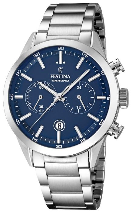 Festina F16826.2 - мужские наручные часы из коллекции ChronographFestina<br><br><br>Бренд: Festina<br>Модель: Festina F16826/2<br>Артикул: F16826.2<br>Вариант артикула: None<br>Коллекция: Chronograph<br>Подколлекция: None<br>Страна: Испания<br>Пол: мужские<br>Тип механизма: кварцевые<br>Механизм: MOS21<br>Количество камней: None<br>Автоподзавод: None<br>Источник энергии: от батарейки<br>Срок службы элемента питания: None<br>Дисплей: стрелки<br>Цифры: отсутствуют<br>Водозащита: WR 50<br>Противоударные: None<br>Материал корпуса: нерж. сталь<br>Материал браслета: нерж. сталь<br>Материал безеля: None<br>Стекло: минеральное<br>Антибликовое покрытие: None<br>Цвет корпуса: None<br>Цвет браслета: None<br>Цвет циферблата: None<br>Цвет безеля: None<br>Размеры: 44 мм<br>Диаметр: None<br>Диаметр корпуса: None<br>Толщина: None<br>Ширина ремешка: None<br>Вес: None<br>Спорт-функции: секундомер<br>Подсветка: стрелок<br>Вставка: None<br>Отображение даты: число<br>Хронограф: есть<br>Таймер: None<br>Термометр: None<br>Хронометр: None<br>GPS: None<br>Радиосинхронизация: None<br>Барометр: None<br>Скелетон: None<br>Дополнительная информация: None<br>Дополнительные функции: None