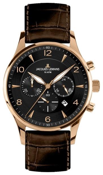 Jacques Lemans 1-1654G - мужские наручные часы из коллекции LondonJacques Lemans<br><br><br>Бренд: Jacques Lemans<br>Модель: Jacques Lemans 1-1654G<br>Артикул: 1-1654G<br>Вариант артикула: None<br>Коллекция: London<br>Подколлекция: None<br>Страна: Австрия<br>Пол: мужские<br>Тип механизма: кварцевые<br>Механизм: None<br>Количество камней: None<br>Автоподзавод: None<br>Источник энергии: от батарейки<br>Срок службы элемента питания: None<br>Дисплей: стрелки<br>Цифры: арабские<br>Водозащита: WR 10<br>Противоударные: None<br>Материал корпуса: нерж. сталь, IP покрытие: позолота (полное)<br>Материал браслета: кожа<br>Материал безеля: None<br>Стекло: Crystex<br>Антибликовое покрытие: None<br>Цвет корпуса: None<br>Цвет браслета: None<br>Цвет циферблата: None<br>Цвет безеля: None<br>Размеры: 40 мм<br>Диаметр: None<br>Диаметр корпуса: None<br>Толщина: None<br>Ширина ремешка: None<br>Вес: None<br>Спорт-функции: секундомер<br>Подсветка: стрелок<br>Вставка: None<br>Отображение даты: число<br>Хронограф: есть<br>Таймер: None<br>Термометр: None<br>Хронометр: None<br>GPS: None<br>Радиосинхронизация: None<br>Барометр: None<br>Скелетон: None<br>Дополнительная информация: None<br>Дополнительные функции: None
