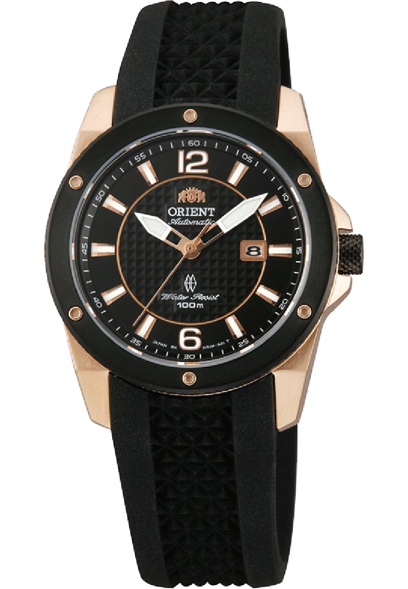 Orient NR1H003B / FNR1H003B0 - женские наручные часыORIENT<br>Оригинальные женские наручные часыORIENT Sporty Automatic NR1H003B с автоподзаводом. В механизме 21 камень. Заводная головка завинчивается, поэтому часы имеют водозащиту 100 атмосфер. Прочное сапфировое стекло. Прозрачная задняя крышка.<br><br>Бренд: ORIENT<br>Модель: ORIENT NR1H003B<br>Артикул: NR1H003B<br>Вариант артикула: FNR1H003B0<br>Коллекция: None<br>Подколлекция: None<br>Страна: Япония<br>Пол: женские<br>Тип механизма: механические<br>Механизм: 55742<br>Количество камней: 21<br>Автоподзавод: есть<br>Источник энергии: пружинный механизм<br>Срок службы элемента питания: None<br>Дисплей: стрелки<br>Цифры: арабские<br>Водозащита: WR 100<br>Противоударные: есть<br>Материал корпуса: нерж. сталь, полное покрытие корпуса<br>Материал браслета: каучук<br>Материал безеля: None<br>Стекло: сапфировое<br>Антибликовое покрытие: None<br>Цвет корпуса: None<br>Цвет браслета: None<br>Цвет циферблата: None<br>Цвет безеля: None<br>Размеры: 32x12.1 мм<br>Диаметр: None<br>Диаметр корпуса: None<br>Толщина: None<br>Ширина ремешка: None<br>Вес: 60 г<br>Спорт-функции: None<br>Подсветка: стрелок<br>Вставка: None<br>Отображение даты: число<br>Хронограф: None<br>Таймер: None<br>Термометр: None<br>Хронометр: None<br>GPS: None<br>Радиосинхронизация: None<br>Барометр: None<br>Скелетон: None<br>Дополнительная информация: прозрачная задняя крышка, возможность ручного подзавода, запас хода 40 часов<br>Дополнительные функции: None