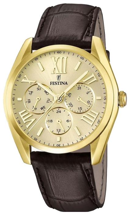 Festina F16753.2 - мужские наручные часы из коллекции MultifunctionFestina<br><br><br>Бренд: Festina<br>Модель: Festina F16753/2<br>Артикул: F16753.2<br>Вариант артикула: None<br>Коллекция: Multifunction<br>Подколлекция: None<br>Страна: Испания<br>Пол: мужские<br>Тип механизма: кварцевые<br>Механизм: None<br>Количество камней: None<br>Автоподзавод: None<br>Источник энергии: от батарейки<br>Срок службы элемента питания: None<br>Дисплей: стрелки<br>Цифры: римские<br>Водозащита: WR 50<br>Противоударные: None<br>Материал корпуса: нерж. сталь, PVD покрытие: позолота (полное)<br>Материал браслета: кожа (не указан)<br>Материал безеля: None<br>Стекло: минеральное<br>Антибликовое покрытие: None<br>Цвет корпуса: None<br>Цвет браслета: None<br>Цвет циферблата: None<br>Цвет безеля: None<br>Размеры: 42 мм<br>Диаметр: None<br>Диаметр корпуса: None<br>Толщина: None<br>Ширина ремешка: None<br>Вес: None<br>Спорт-функции: None<br>Подсветка: None<br>Вставка: None<br>Отображение даты: число, день недели<br>Хронограф: None<br>Таймер: None<br>Термометр: None<br>Хронометр: None<br>GPS: None<br>Радиосинхронизация: None<br>Барометр: None<br>Скелетон: None<br>Дополнительная информация: None<br>Дополнительные функции: None