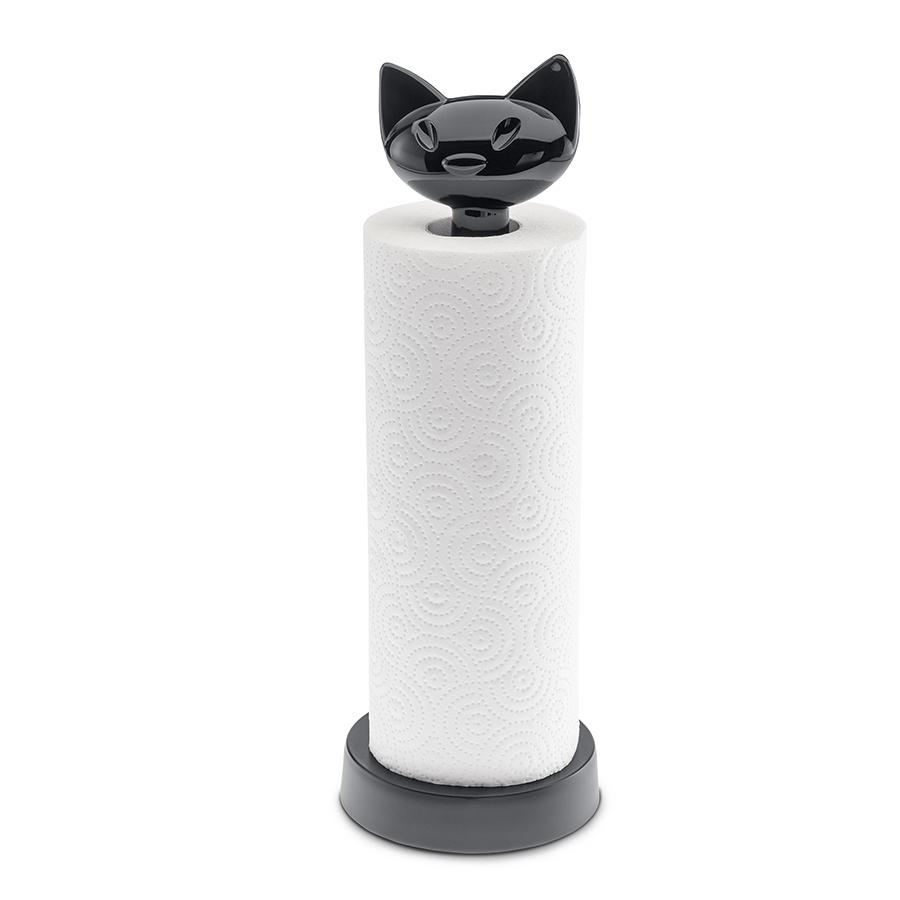 Держатель для бумажных полотенец MIAOU, чёрный Koziol 5225526Держатели для полотенец<br>Держатель для полотенец с мордочкой кошки удачно впишется в пространство кухни, имеет устойчивое основание, которое при этом не займёт много места на кухне.<br><br>Особенности:<br>- занимает мало места, подходит для маленьких кухонь<br>- можно мыть в посудомоечной машине<br>- не содержит меламин<br><br>Коллекция MIAOU создавалась для больших любителей кошек: в ней большое количество аксессуаров для дома - теперь можно расставить по всему дому символы любимого животного. Кроме того, забавная кошачья мордочка делает каждый предмет коллекции приятным подарком.<br>