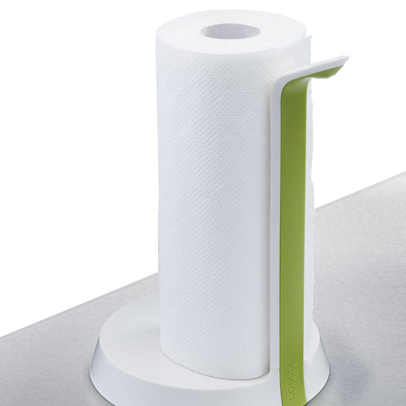 Держатель для бумажных полотенец Joseph Joseph easy tear™ белый/зеленый 85051Держатели для полотенец<br>Держатель для бумажных полотенец Joseph Joseph easy tear™ белый/зеленый 85051<br><br>Инновационная формула держателей для полотенец. Главная особенность этого держателя - так называемая функция one hand use, что означает возможность отрыва полотенца одной рукой. Вертикальный держатель состоит из двух частей - держатель с тоненьким лезвием и выдвигающийся закрепляющий механизм для плотной фиксации рулона любой толщины. Основание держателя имеет прорезиненную структуру, что позволяет ему не скользить, а Вам - легко извлекать бумажное полотенце по взмаху одной руки!<br>Официальный продавец<br>