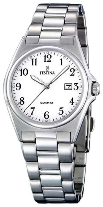 Festina F16375.1 - женские наручные часы из коллекции ClassicFestina<br><br><br>Бренд: Festina<br>Модель: Festina F16375/1<br>Артикул: F16375.1<br>Вариант артикула: None<br>Коллекция: Classic<br>Подколлекция: None<br>Страна: Испания<br>Пол: женские<br>Тип механизма: кварцевые<br>Механизм: None<br>Количество камней: None<br>Автоподзавод: None<br>Источник энергии: от батарейки<br>Срок службы элемента питания: None<br>Дисплей: стрелки<br>Цифры: арабские<br>Водозащита: WR 30<br>Противоударные: None<br>Материал корпуса: нерж. сталь<br>Материал браслета: нерж. сталь<br>Материал безеля: None<br>Стекло: минеральное<br>Антибликовое покрытие: None<br>Цвет корпуса: None<br>Цвет браслета: None<br>Цвет циферблата: None<br>Цвет безеля: None<br>Размеры: 32 мм<br>Диаметр: None<br>Диаметр корпуса: None<br>Толщина: None<br>Ширина ремешка: None<br>Вес: None<br>Спорт-функции: None<br>Подсветка: стрелок<br>Вставка: None<br>Отображение даты: число<br>Хронограф: None<br>Таймер: None<br>Термометр: None<br>Хронометр: None<br>GPS: None<br>Радиосинхронизация: None<br>Барометр: None<br>Скелетон: None<br>Дополнительная информация: None<br>Дополнительные функции: None