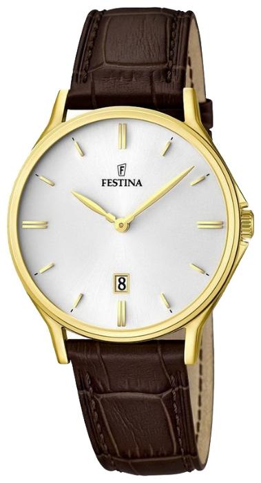 Festina F16747.1 - мужские наручные часы из коллекции ClassicFestina<br><br><br>Бренд: Festina<br>Модель: Festina F16747/1<br>Артикул: F16747.1<br>Вариант артикула: None<br>Коллекция: Classic<br>Подколлекция: None<br>Страна: Испания<br>Пол: мужские<br>Тип механизма: кварцевые<br>Механизм: None<br>Количество камней: None<br>Автоподзавод: None<br>Источник энергии: от батарейки<br>Срок службы элемента питания: None<br>Дисплей: стрелки<br>Цифры: отсутствуют<br>Водозащита: WR 50<br>Противоударные: None<br>Материал корпуса: нерж. сталь, PVD покрытие: позолота (полное)<br>Материал браслета: кожа (не указан)<br>Материал безеля: None<br>Стекло: минеральное<br>Антибликовое покрытие: None<br>Цвет корпуса: None<br>Цвет браслета: None<br>Цвет циферблата: None<br>Цвет безеля: None<br>Размеры: 39 мм<br>Диаметр: None<br>Диаметр корпуса: None<br>Толщина: None<br>Ширина ремешка: None<br>Вес: None<br>Спорт-функции: None<br>Подсветка: None<br>Вставка: None<br>Отображение даты: число<br>Хронограф: None<br>Таймер: None<br>Термометр: None<br>Хронометр: None<br>GPS: None<br>Радиосинхронизация: None<br>Барометр: None<br>Скелетон: None<br>Дополнительная информация: None<br>Дополнительные функции: None