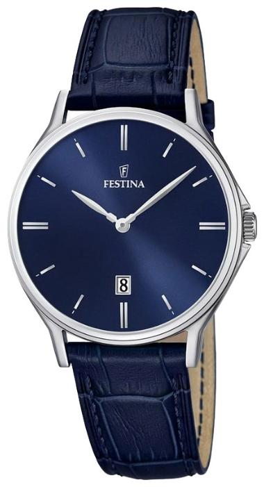 Festina F16745.3 - мужские наручные часы из коллекции ClassicFestina<br><br><br>Бренд: Festina<br>Модель: Festina F16745/3<br>Артикул: F16745.3<br>Вариант артикула: None<br>Коллекция: Classic<br>Подколлекция: None<br>Страна: Испания<br>Пол: мужские<br>Тип механизма: кварцевые<br>Механизм: None<br>Количество камней: None<br>Автоподзавод: None<br>Источник энергии: от батарейки<br>Срок службы элемента питания: None<br>Дисплей: стрелки<br>Цифры: отсутствуют<br>Водозащита: WR 50<br>Противоударные: None<br>Материал корпуса: нерж. сталь<br>Материал браслета: кожа (не указан)<br>Материал безеля: None<br>Стекло: минеральное<br>Антибликовое покрытие: None<br>Цвет корпуса: None<br>Цвет браслета: None<br>Цвет циферблата: None<br>Цвет безеля: None<br>Размеры: 39x7 мм<br>Диаметр: None<br>Диаметр корпуса: None<br>Толщина: None<br>Ширина ремешка: None<br>Вес: None<br>Спорт-функции: None<br>Подсветка: None<br>Вставка: None<br>Отображение даты: число<br>Хронограф: None<br>Таймер: None<br>Термометр: None<br>Хронометр: None<br>GPS: None<br>Радиосинхронизация: None<br>Барометр: None<br>Скелетон: None<br>Дополнительная информация: None<br>Дополнительные функции: None