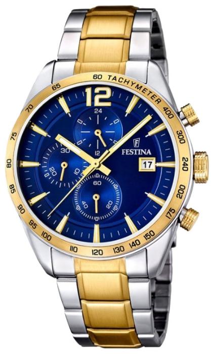 Festina F16761.2 - мужские наручные часы из коллекции ChronographFestina<br><br><br>Бренд: Festina<br>Модель: Festina F16761/2<br>Артикул: F16761.2<br>Вариант артикула: None<br>Коллекция: Chronograph<br>Подколлекция: None<br>Страна: Испания<br>Пол: мужские<br>Тип механизма: кварцевые<br>Механизм: None<br>Количество камней: None<br>Автоподзавод: None<br>Источник энергии: от батарейки<br>Срок службы элемента питания: None<br>Дисплей: стрелки<br>Цифры: арабские<br>Водозащита: WR 50<br>Противоударные: None<br>Материал корпуса: нерж. сталь, PVD покрытие: позолота (частичное)<br>Материал браслета: нерж. сталь, PVD покрытие (частичное): позолота<br>Материал безеля: None<br>Стекло: минеральное<br>Антибликовое покрытие: None<br>Цвет корпуса: None<br>Цвет браслета: None<br>Цвет циферблата: None<br>Цвет безеля: None<br>Размеры: 44x12 мм<br>Диаметр: None<br>Диаметр корпуса: None<br>Толщина: None<br>Ширина ремешка: None<br>Вес: None<br>Спорт-функции: секундомер<br>Подсветка: стрелок<br>Вставка: None<br>Отображение даты: число<br>Хронограф: есть<br>Таймер: None<br>Термометр: None<br>Хронометр: None<br>GPS: None<br>Радиосинхронизация: None<br>Барометр: None<br>Скелетон: None<br>Дополнительная информация: None<br>Дополнительные функции: None