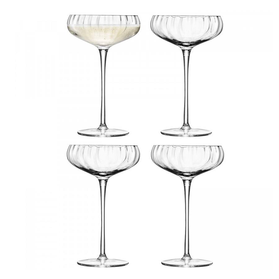 Бокал-креманка для шампанского Aurelia 4 шт. LSA G730-11-776Бокалы и стаканы<br>Тонкие линии и деликатные грани бокалов Aurelia для шампанского от бренда LSA International подчеркивают игру света и оптическое совершенство выдувного стекла. <br>Благодаря изысканному дизайну, они идеально подойдут для торжественных застолий и официальных мероприятий. <br>В коллекции Aurelia представлены бокалы для красного, белого вина, фужеры для шампанского и коктейлей, блюда со стеклянными крышками для закусок и другие предметы из стекла ручного производства. <br>Бокалы упакованы в красивую коробку и станут отличным подарком на любой праздник.<br>
