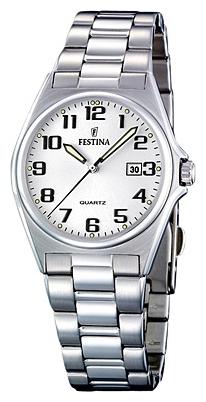 Festina F16375.9 - женские наручные часы из коллекции ClassicFestina<br><br><br>Бренд: Festina<br>Модель: Festina F16375/9<br>Артикул: F16375.9<br>Вариант артикула: None<br>Коллекция: Classic<br>Подколлекция: None<br>Страна: Испания<br>Пол: женские<br>Тип механизма: кварцевые<br>Механизм: M1L12<br>Количество камней: None<br>Автоподзавод: None<br>Источник энергии: от батарейки<br>Срок службы элемента питания: None<br>Дисплей: стрелки<br>Цифры: арабские<br>Водозащита: WR 50<br>Противоударные: None<br>Материал корпуса: нерж. сталь<br>Материал браслета: нерж. сталь<br>Материал безеля: None<br>Стекло: минеральное<br>Антибликовое покрытие: None<br>Цвет корпуса: None<br>Цвет браслета: None<br>Цвет циферблата: None<br>Цвет безеля: None<br>Размеры: 31 мм<br>Диаметр: None<br>Диаметр корпуса: None<br>Толщина: None<br>Ширина ремешка: None<br>Вес: None<br>Спорт-функции: None<br>Подсветка: стрелок<br>Вставка: None<br>Отображение даты: число<br>Хронограф: None<br>Таймер: None<br>Термометр: None<br>Хронометр: None<br>GPS: None<br>Радиосинхронизация: None<br>Барометр: None<br>Скелетон: None<br>Дополнительная информация: None<br>Дополнительные функции: None