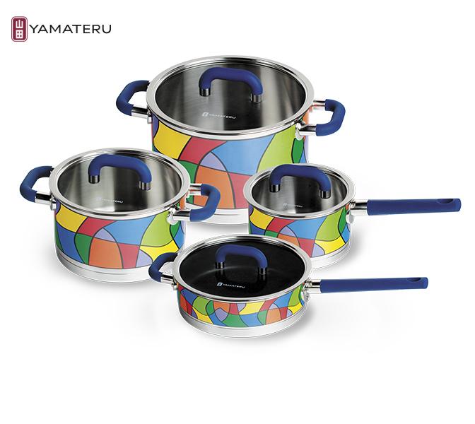 Набор посуды 8 предметов Yamateru Takara S YTASET8SНаборы посуды<br>Набор посуды 8 предметов Yamateru Takara S YTASET8S<br><br>Уникальная коллекция, сочетающая в себе высочайшее качество и продуманную функциональность, станет не только верным помощником хозяйки, но и украшением любой кухни благодаря особенному дизайнерскому решению, реализованному с помощью технологии деколирования. Оставаясь настоящим произведением искусства, посуда из коллекции PATENT DESINED &amp; DECORATIVE также является неповторимым образцом полезной технологичности. <br>В то время, как ваши гости будут любоваться ее ярким дизайном, истинный кулинар обязательно оценит используемые инновационные решения: индукционное дно с диском из чистого алюминия и антипригарным покрытием Teflon® Platinum Plus, оригинальный дизайн дна сотейника, разработанный по технологии Puzzle, эксклюзивную обработку края «drop-stop» и внутреннюю матовую полировку, устойчивую к появлению царапин.<br>В набор Yamateru Takara S входит:<br><br><br><br><br><br>Ковш Yamateru Takara S 16 см +стеклянная крышка<br>Диаметр: 16см<br>Объем: 1,8л<br>Толщина дна: 8,6мм<br>Толщина стенок: 1мм<br>Высота стенок: 9см<br><br><br><br><br><br>КастрюляYamateru Takara S 20 см +стеклянная крышка<br>Диаметр: 20см<br>Объем: 3,4л<br>Толщина дна: 8,6мм<br>Толщина стенок: 1мм<br>Высота стенок: 11см<br><br><br><br><br><br>Кастрюля Yamateru Takara S 24 см +стеклянная крышка<br>Диаметр: 24см<br>Объем: 6,8л<br>Толщина дна: 8,6мм<br>Толщина стенок: 1мм<br>Высота стенок: 15см<br><br><br><br><br><br>СотейникYamateru Takara S 24 см +стеклянная крышка<br>Диаметр: 24см<br>Объем: 3,1л<br>Толщина дна: 8,6мм<br>Толщина стенок: 1мм<br>Высота стенок: 7см<br><br><br><br><br>Отличительные особенности посудыYamateru Takara S:<br><br>Многоступенчатый экоконтроль материалов на всех этапах производства.<br>Оригинальное дизайнерское решение покрытия внешнего корпуса термостойкой деколью.<br>Внутренняя матовая полировка, устойчивая к появлению царапин.<br>Сотейник с антипр