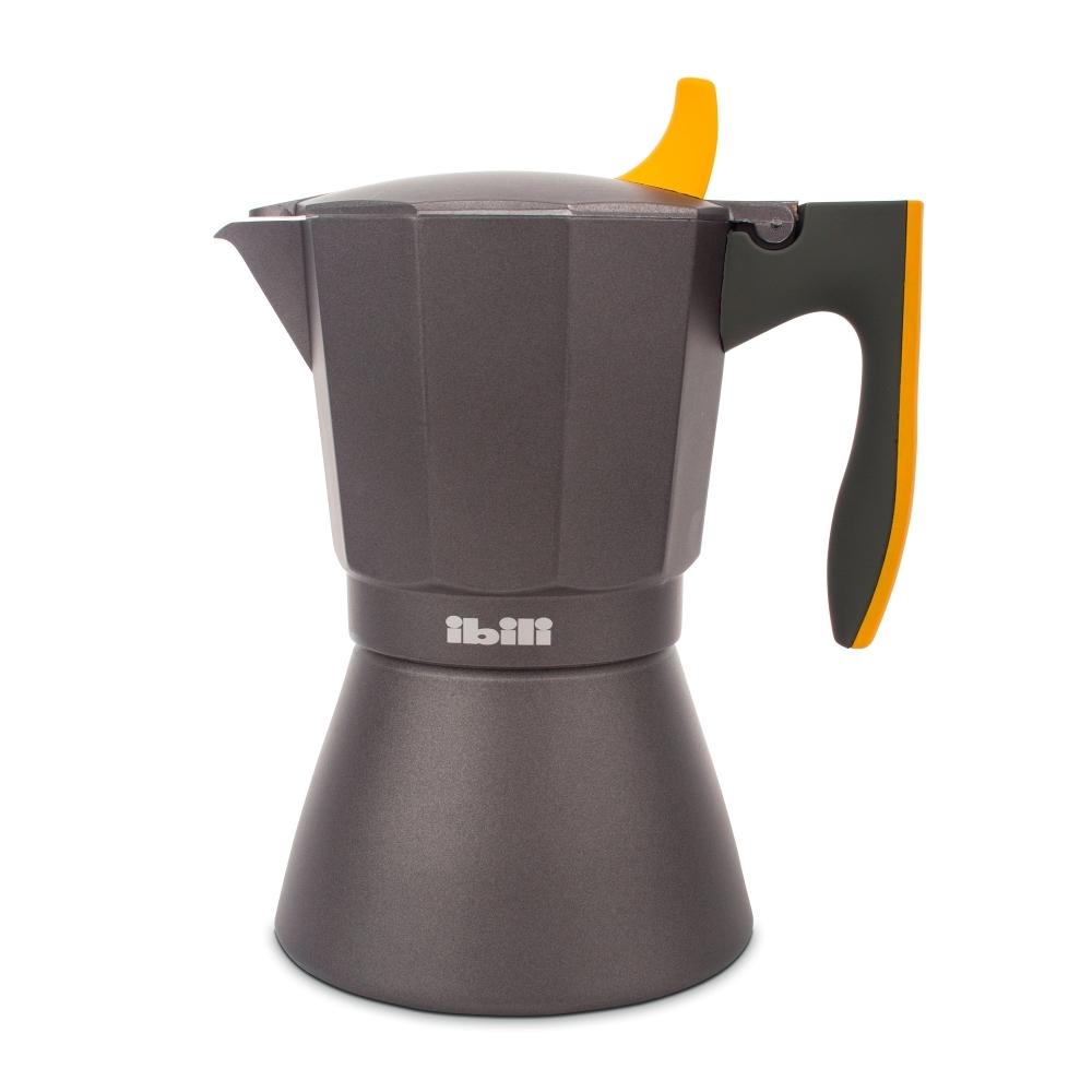 Кофеварка гейзерная на 9 чашек, алюминий, для индукционных плит, ручка оранжевая IBILI Sensive арт. 622209Посуда для приготовления IBILI (Испания)<br>крышка:естьматериал:алюминийпредметов в наборе (штук):1ручки:фиксированныестрана:Испаниятип варочной поверхности:все типы поверхностей<br>