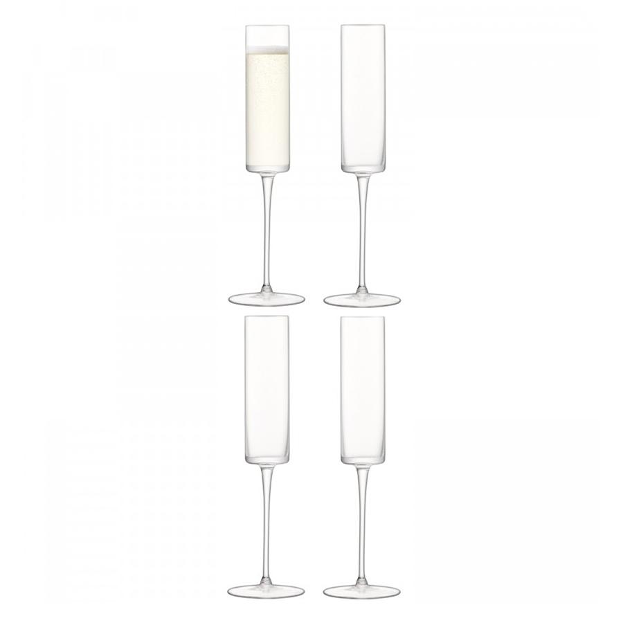Бокал-флейта для шампанского  Otis 4 шт. LSA G1070-05-301Бокалы и стаканы<br>Otis — совершенная геометрическая форма, минималистичный дизайн и кристально-прозрачное стекло ручного производства. Бокалы для игристых вин цилиндрической формы станут эффектным штрихом для торжественного ужина, фуршета или вечеринки. Набор из 4-х бокалов упакован в коробку и станет отличным подарком на любой праздник.<br>