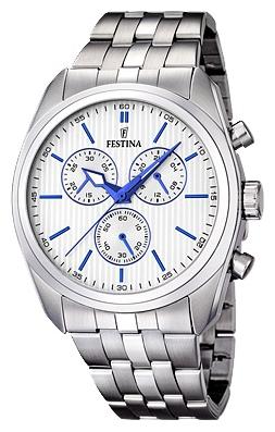 Festina F16778.2 - мужские наручные часы из коллекции ChronographFestina<br><br><br>Бренд: Festina<br>Модель: Festina F16778/2<br>Артикул: F16778.2<br>Вариант артикула: None<br>Коллекция: Chronograph<br>Подколлекция: None<br>Страна: Испания<br>Пол: мужские<br>Тип механизма: кварцевые<br>Механизм: MJS00<br>Количество камней: None<br>Автоподзавод: None<br>Источник энергии: от батарейки<br>Срок службы элемента питания: None<br>Дисплей: стрелки<br>Цифры: отсутствуют<br>Водозащита: WR 50<br>Противоударные: None<br>Материал корпуса: нерж. сталь<br>Материал браслета: нерж. сталь<br>Материал безеля: None<br>Стекло: минеральное<br>Антибликовое покрытие: None<br>Цвет корпуса: None<br>Цвет браслета: None<br>Цвет циферблата: None<br>Цвет безеля: None<br>Размеры: 44 мм<br>Диаметр: None<br>Диаметр корпуса: None<br>Толщина: None<br>Ширина ремешка: None<br>Вес: None<br>Спорт-функции: секундомер<br>Подсветка: стрелок<br>Вставка: None<br>Отображение даты: None<br>Хронограф: есть<br>Таймер: None<br>Термометр: None<br>Хронометр: None<br>GPS: None<br>Радиосинхронизация: None<br>Барометр: None<br>Скелетон: None<br>Дополнительная информация: None<br>Дополнительные функции: None