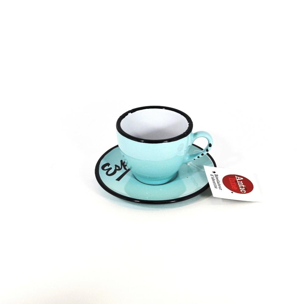Чашечка эспрессо с блюдцем голубая (Фарфор и керамика Antic Line, Франция)Фарфор и керамика Antic Line, Франция<br>Чашечка эспрессо с блюдцем голубая<br>Керамика, стилизовано под эмалированный металл<br>Производитель: Antic Line, Франция<br>