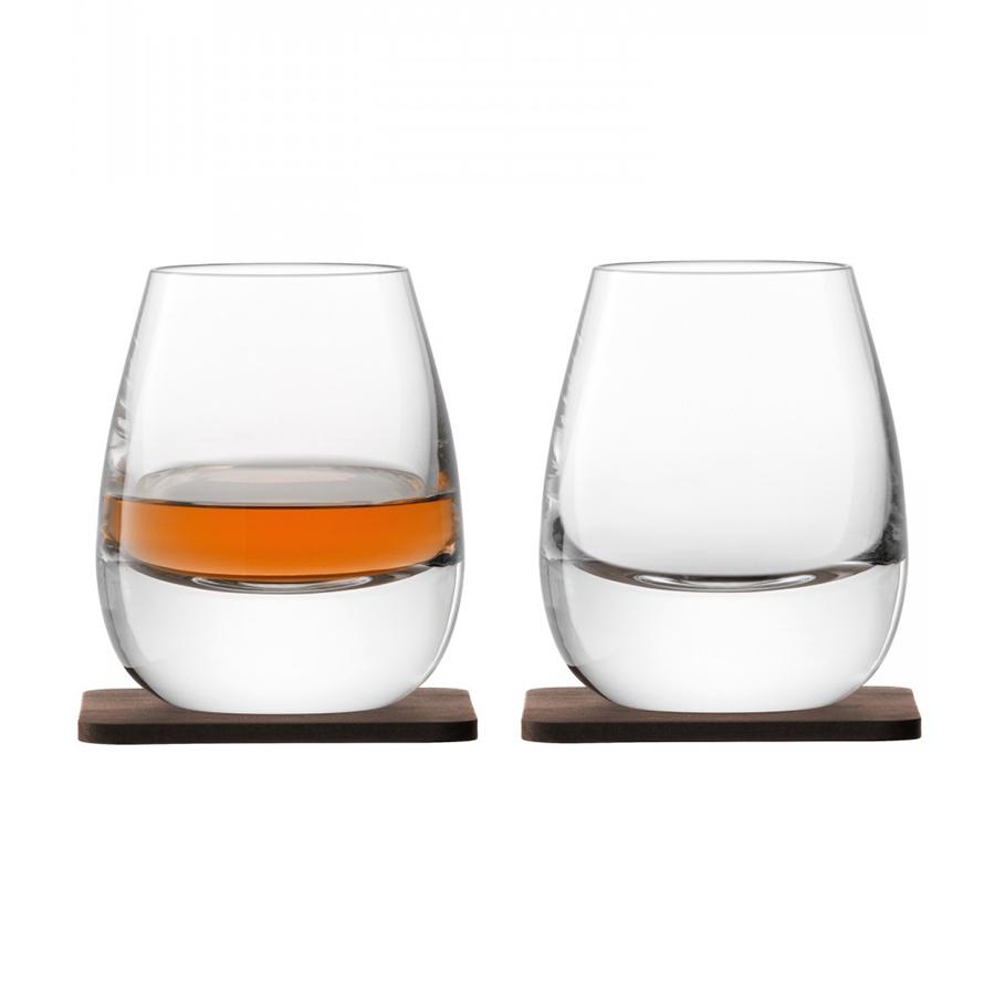 Стакан Islay Whisky с деревянной подставкой 2 шт. LSA G1213-09-301Бокалы и стаканы<br>Коллекция Whisky от LSA International — это собрание вековых традиции Шотландии в сочетании с современным дизайном. Сет из 2-х стаканов был создан мастерами с учетом старинного искусства дистилляции виски. Утолщенное дно и подставка их ореха ручной работы навевает мысли об основательности и долгой выдержке благородного напитка в деревянных бочках. Набор упакован в красивую подарочную коробку и станет украшением любого бара.<br>