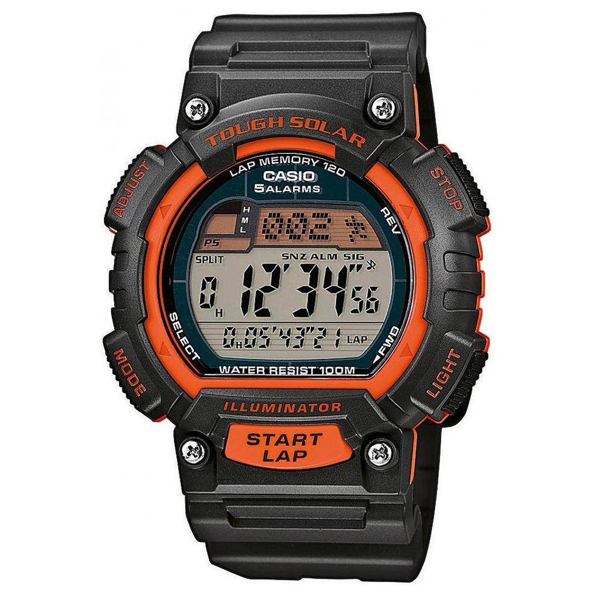 Casio Sports STL-S100H-4A / STL-S100H-4AER - мужские наручные часыCasio<br>Точность +/- 30 сек в месяц. Секундомер с точностью в 1/100 секунды. Пределы измерения достигают 100 часов. Память на 120 кругов. Измеренное общее время, прошедшее с начала тренировки или гонки, и промежуточное время можно сохранить с указанием даты и отобразить эти данные позже. Набор данных состоит из даты, общего времени, прошедшего с начала тренировки или гонки, и промежуточного времени. В памяти часов можно сохранить 120 записей. Эта модель оснащена двумя независимыми таймерами обратного отсчета, которые издают звуковой сигнал по истечении установленного заранее периода времени. Предел измерения равен 100 часам и таймер можно настроить на пятисекундные циклы. Функция мирового времени. 5 ежедневных будильников. Функция повтора будильника. Включение/выключение звука кнопок. Автоматический календарь. 12/24-часовое отображение времени. Солнечная батарейка. Индикатор уровня заряда батарейки. Светодиодная подсветка. Корпус из полимерного пластика. Ремешок из полимерного материала. Размер корпуса: 51,4 мм x 45,4 мм x 12,7 мм. Вес приблизительно 40,3 гр.<br><br>Бренд: Casio<br>Модель: Casio STL-S100H-4A<br>Артикул: STL-S100H-4A<br>Вариант артикула: STL-S100H-4AER<br>Коллекция: Sports<br>Подколлекция: None<br>Страна: Япония<br>Пол: мужские<br>Тип механизма: кварцевые<br>Механизм: None<br>Количество камней: None<br>Автоподзавод: None<br>Источник энергии: от солнечной батареи<br>Срок службы элемента питания: None<br>Дисплей: цифры<br>Цифры: None<br>Водозащита: WR 100<br>Противоударные: None<br>Материал корпуса: пластик<br>Материал браслета: пластик<br>Материал безеля: None<br>Стекло: пластиковое<br>Антибликовое покрытие: None<br>Цвет корпуса: None<br>Цвет браслета: None<br>Цвет циферблата: None<br>Цвет безеля: None<br>Размеры: 45.4x51.4x12.7 мм<br>Диаметр: None<br>Диаметр корпуса: None<br>Толщина: None<br>Ширина ремешка: None<br>Вес: 40.3 г<br>Спорт-функции: секундомер, таймер обратного отсчета<br>