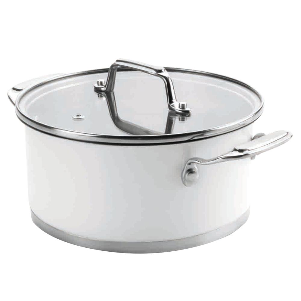 Кастрюля 20см (2,8 л) LACOR Cookware White арт. 43020Кастрюли<br>Кастрюля 20см (2,8 л) LACOR Cookware White арт. 43020<br><br>вид упаковки:подарочнаядиаметр (см):20.0крышка:естьматериал:нержавеющая стальобъем (л):2.80покрытие:без покрытияпредметов в наборе (штук):1ручки:фиксированныестрана:Испаниятип варочной поверхности:все типы поверхностей<br><br>Посуда серии Cookware White испанского производителя Lacor привлекает внимание изяществом линий и строгостью традиционных форм. Кастрюли, сотейники и ковши из высококачественной нержавеющей стали отлично подходят для ежедневного использования. Элегантность посуды подчеркивает матовое белое покрытие, оттеняемое блестящими ручками и окантовкой на стеклянной крышке.<br>Благодаря уникальному устройству тройного дна в ней можно готовить с минимальным добавлением масла или вовсе без него, а также без воды. Такая конструкция гарантирует равномерное распределение тепла по всей площади дна, что сохраняет максимальное количество питательных и полезных свойств в готовящихся продуктах.<br>