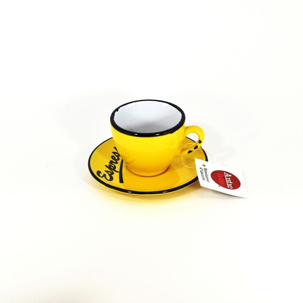 Чашечка эспрессо с блюдцем желтая (Фарфор и керамика Antic Line, Франция)Фарфор и керамика Antic Line, Франция<br>Чашечка эспрессо с блюдцем желтая<br>Керамика, стилизовано под эмалированный металл<br>Производитель: Antic Line, Франция<br>