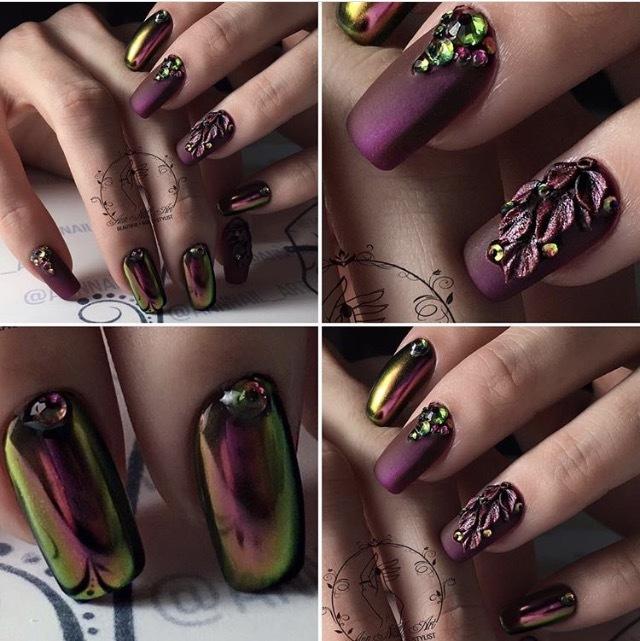 Фото ногтей с втиркой майский жук