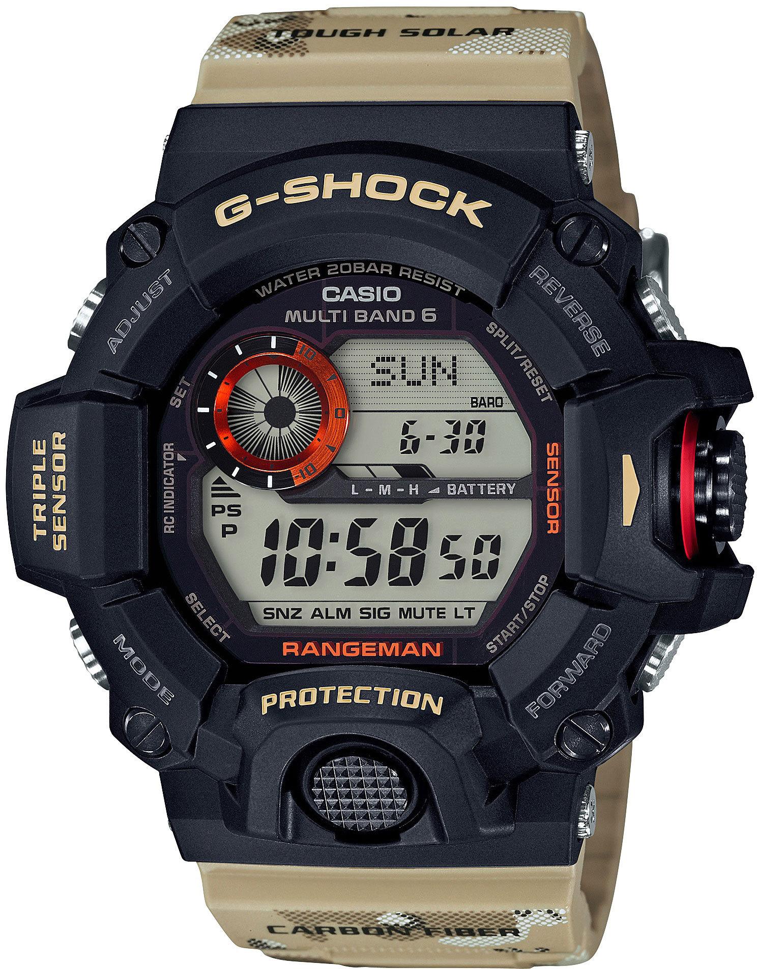 Casio G-SHOCK GW-9400DCJ-1E / GW-9400DCJ-1ER - мужские наручные часыCasio<br><br><br>Бренд: Casio<br>Модель: Casio GW-9400DCJ-1E<br>Артикул: GW-9400DCJ-1E<br>Вариант артикула: GW-9400DCJ-1ER<br>Коллекция: G-SHOCK<br>Подколлекция: None<br>Страна: Япония<br>Пол: мужские<br>Тип механизма: кварцевые<br>Механизм: None<br>Количество камней: None<br>Автоподзавод: None<br>Источник энергии: от солнечной батареи<br>Срок службы элемента питания: 8 мес<br>Дисплей: None<br>Цифры: None<br>Водозащита: WR 200<br>Противоударные: есть<br>Материал корпуса: пластик<br>Материал браслета: пластик<br>Материал безеля: None<br>Стекло: минеральное<br>Антибликовое покрытие: None<br>Цвет корпуса: None<br>Цвет браслета: None<br>Цвет циферблата: None<br>Цвет безеля: None<br>Размеры: None<br>Диаметр: None<br>Диаметр корпуса: None<br>Толщина: None<br>Ширина ремешка: None<br>Вес: 93 г<br>Спорт-функции: секундомер, таймер обратного отсчета, высотомер, барометр, термометр, компас<br>Подсветка: дисплея<br>Вставка: None<br>Отображение даты: вечный календарь, число, месяц, день недели<br>Хронограф: None<br>Таймер: None<br>Термометр: None<br>Хронометр: None<br>GPS: None<br>Радиосинхронизация: есть<br>Барометр: None<br>Скелетон: None<br>Дополнительная информация: автоподсветка, ежечасный сигнал, повтор сигнала будильника, отображение времени восхода и захода Солнца, функция сохранения энергии, функция включения/отключения звука кнопок, время работы аккумулятора с использованием функции сохранения энергии - 23 месяца, ремешок с карбоновыми вставками<br>Дополнительные функции: индикатор запаса хода, второй часовой пояс, будильник (количество установок: 5)