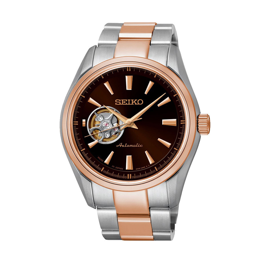 Наручные часы SeikoSeiko Presage<br>Непревзойдённая классика механических часов от SEIKO.Корпус: Сталь / PVD розового цвета. Браслет: Сталь/ PVD розового цвета. Сапфировое стекло. Задняя крышка открытая. Окошко балансового колеса на циферблате. Защита от воды 100 м.<br>