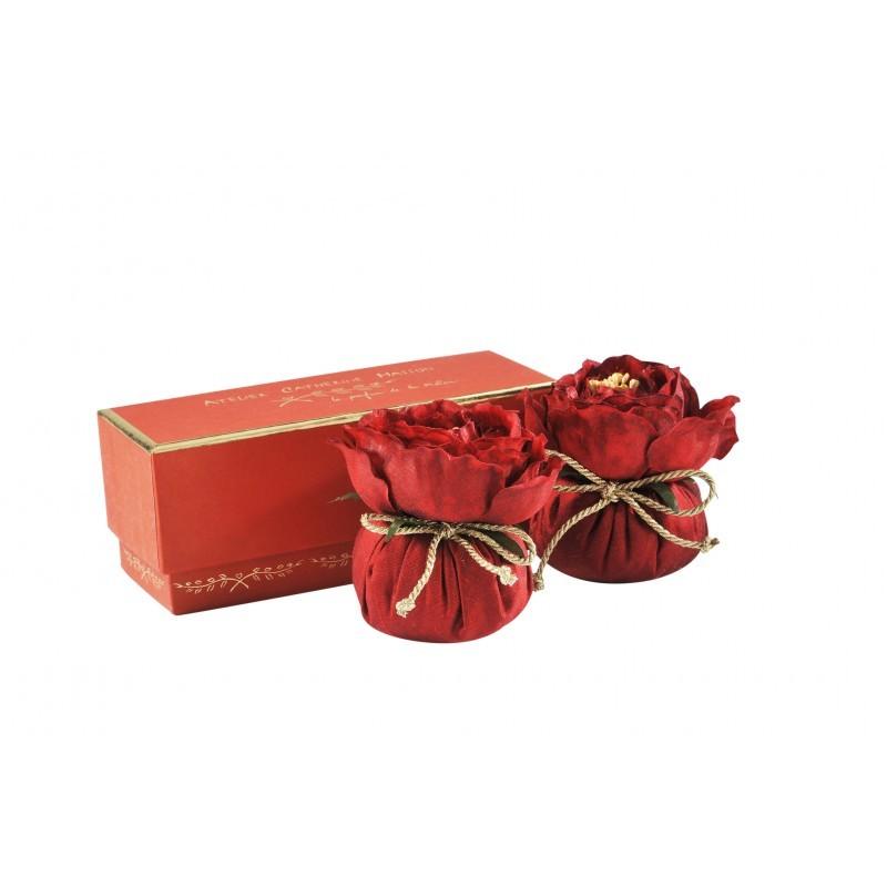 Серия «БАРОККО» Саше<br>Два саше Барокко с цветком в маленькой бордовой коробке<br>