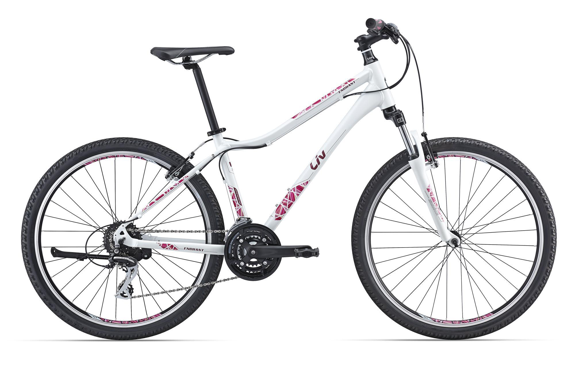 Giant Enchant 1 (2016)Горные<br>Женский велосипед – это всегда так сложно, потому что хорошую работу всех компонентов нужно совместить с удобством и красивым внешним видом. И у Giant это отлично получается – модель Enchant 1 со специальной женской геометрией Liv получилась универсальной, комфортной в любых условиях и очень стильной.<br>Этот велосипед будет отлично вести себя на бездорожье благодаря амортизационной вилке с блокировкой, на нем легко проезжается местность с любым рельефом, поскольку он оснащен 24-скоростной трансмиссией, прочные двойные обода простят жесткие заезды на препятствия, а в городе он способен подарить хозяйке море приятных мгновений – его внедорожная сущность отлично сочетается с накатом и резвостью. Не верите? Попробуйте сами!<br>