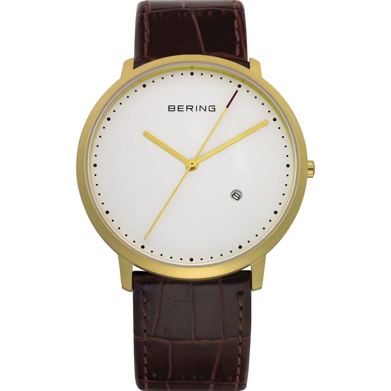 Bering 11139-534 - мужские наручные часы из коллекции ClassicBering<br>мужские,  сапфировое стекло, корпус из нерж. стали с покрытием pvd золотого цвета , ремешок из кожи теленка коричневого цвета, циферблат белого цвета, центральная секундная стрелка, с числовым календарем<br><br>Бренд: Bering<br>Модель: Bering 11139-534<br>Артикул: 11139-534<br>Вариант артикула: ber-11139-534<br>Коллекция: Classic<br>Подколлекция: None<br>Страна: Дания<br>Пол: мужские<br>Тип механизма: кварцевые<br>Механизм: None<br>Количество камней: None<br>Автоподзавод: None<br>Источник энергии: от батарейки<br>Срок службы элемента питания: None<br>Дисплей: стрелки<br>Цифры: отсутствуют<br>Водозащита: WR 50<br>Противоударные: None<br>Материал корпуса: нерж. сталь, покрытие: позолота (полное)<br>Материал браслета: кожа (теленок)<br>Материал безеля: None<br>Стекло: сапфировое<br>Антибликовое покрытие: None<br>Цвет корпуса: золотой<br>Цвет браслета: коричневый<br>Цвет циферблата: None<br>Цвет безеля: None<br>Размеры: 39x7 мм<br>Диаметр: 39 мм<br>Диаметр корпуса: None<br>Толщина: None<br>Ширина ремешка: None<br>Вес: None<br>Спорт-функции: None<br>Подсветка: None<br>Вставка: None<br>Отображение даты: число<br>Хронограф: None<br>Таймер: None<br>Термометр: None<br>Хронометр: None<br>GPS: None<br>Радиосинхронизация: None<br>Барометр: None<br>Скелетон: None<br>Дополнительная информация: None<br>Дополнительные функции: None