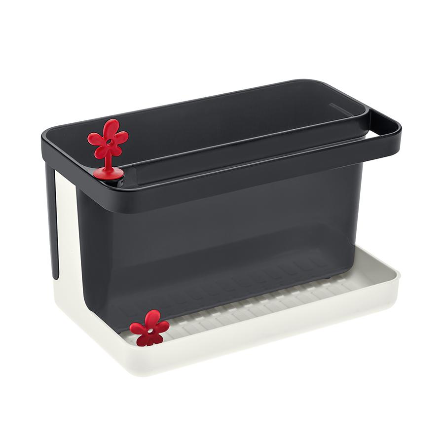Органайзер для раковины PARK IT, бело-чёрный Koziol 3261100Органайзеры для раковины<br>Вместительный органайзер PARK IT поможет организовать пространство на кухне: в нём найдётся место для губки, щётки, маленького полотенца, моющего средства и столовых приборов. Корпус органайзера разбирается и легко моется. В основании есть отверстие для слива, которое закрывается декоративной пробкой.<br><br>Особенности:<br>- отверстие для слива воды в раковину<br>- можно мыть в посудомоечной машине<br>- не содержит меламин<br>- подарочная упаковка<br>