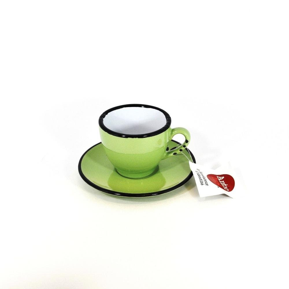 Чашечка эспрессо с блюдцем салатовая (Фарфор и керамика Antic Line, Франция)Фарфор и керамика Antic Line, Франция<br>Чашечка эспрессо с блюдцем салатовая<br>Керамика, стилизовано под эмалированный металл<br>Производитель: Antic Line, Франция<br>