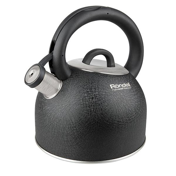Чайник Rondell Infinity со свистком 2,7л RDS-424Чайники со свистком Rondell<br>Чайник Rondell Infinity со свистком 2,7л RDS-424<br><br>Диаметр индукционного диска: 145мм.Толщина стенок: 0,4 мм.Внешнее покрытие и отделка: Уникальное фактурное внешнее покрытие SkinLayer, устойчивое к высоким температурам.Аксессуары: Прочная нейлоновая ручка.Материал крышки: Нержавеющая сталь.Преимущества: Бакелитовый со стальной сердцевиной свисток с клапаном.Использование: Не подходит для посудомоечной машины, подходит для всех видов плит, включая индукционные.Упаковка: Подарочная коробка с ручкой.<br>