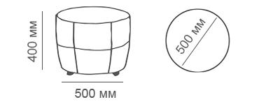 Габаритные размеры пуфа Глаффи без ящика