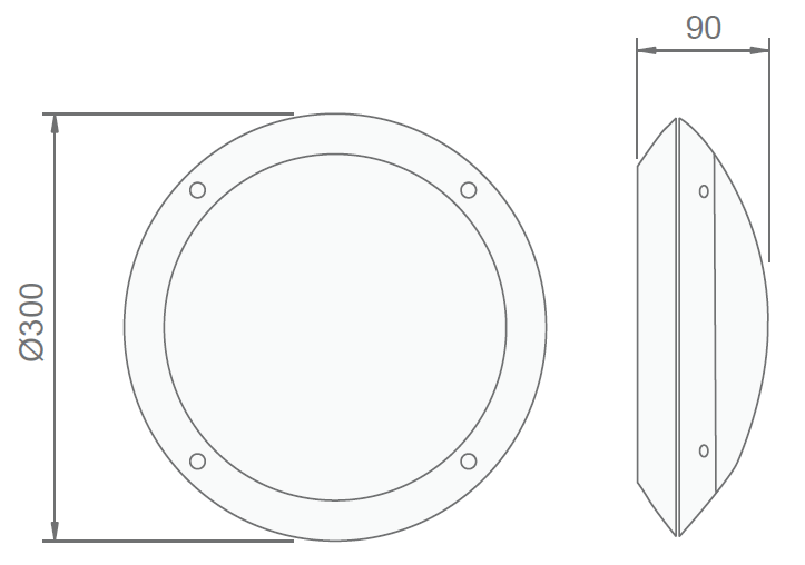 Размеры аварийного эвакуационного светодиодного ЖКХ светильника серии Cosmic LED IP66