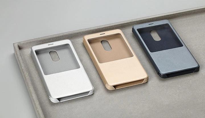 Чехол-книжка с экраном для Xiaomi Redmi Note 4X, оригинальный (Золотистый)