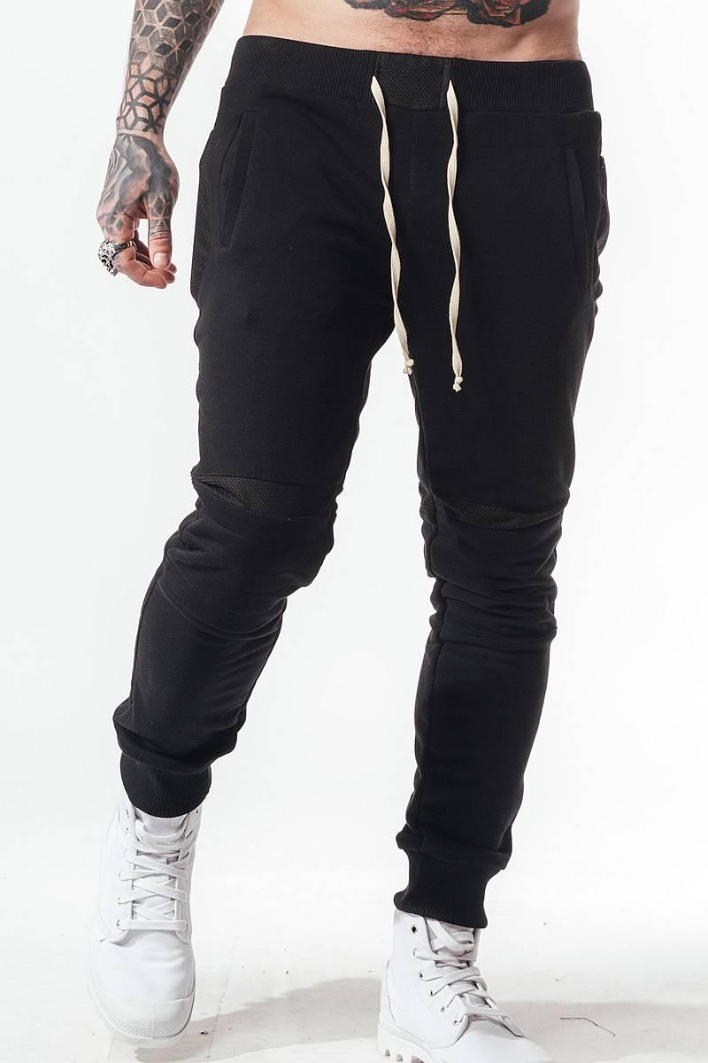 b4128900 спортивные штаны трико черные мужские зауженные SB БМ-5022 на резинке внизу  со вставками