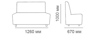 Габаритные размеры 2-местного дивана Денвер1000