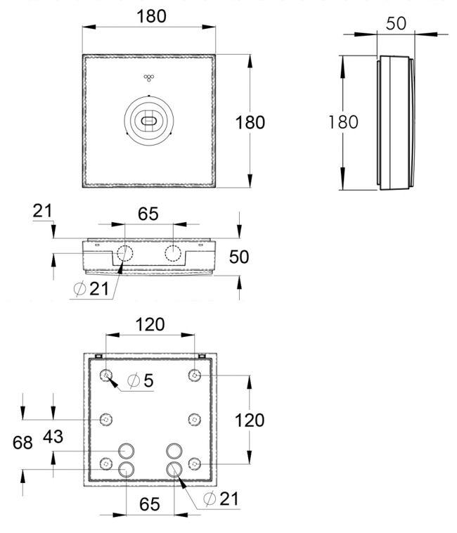 Монтажные размеры для потолочного светильника аварийного освещения IP44 ZONESPOT II