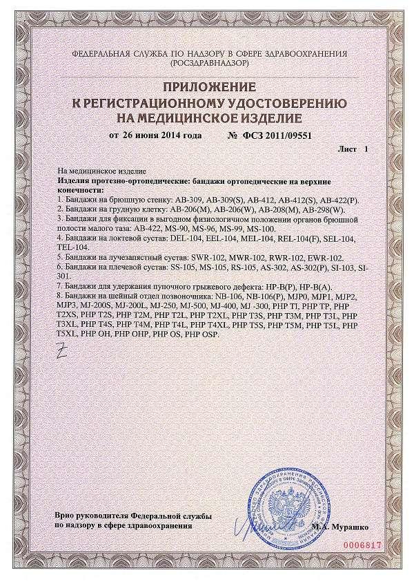 Приложение к удостоверению на Orlett AB-309