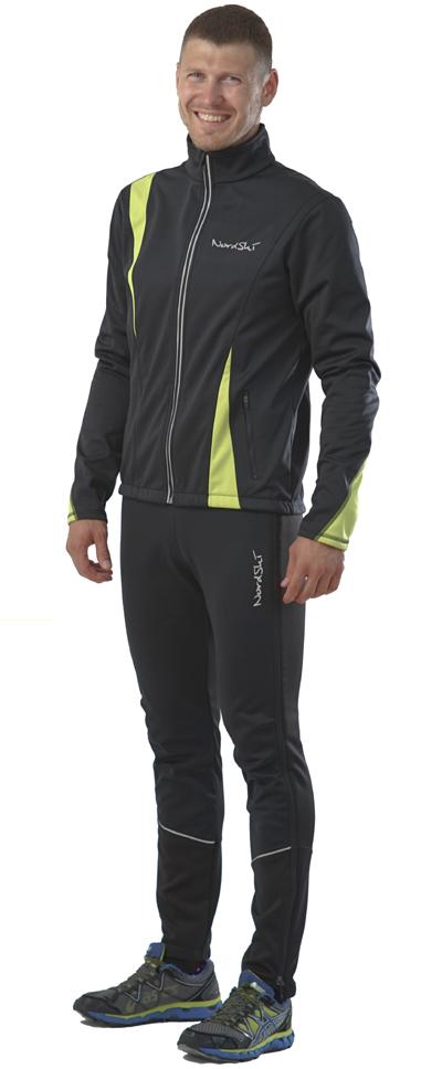 NSM321180 Утеплённый лыжный костюм Nordski Active Black-Lime 2016 мужской mini