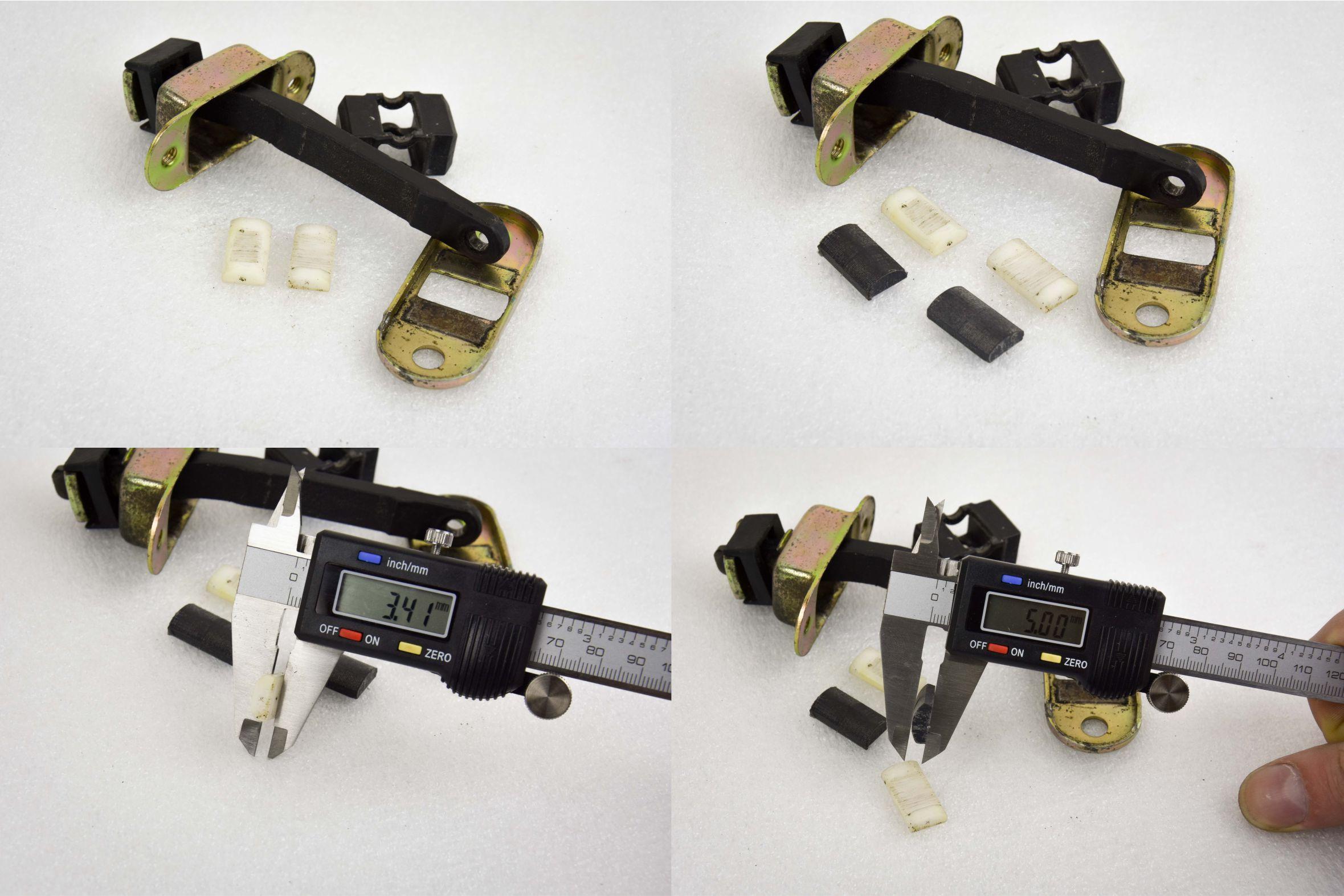 Ограничитель Mitsubishi. Толщина фиксатора у детали с авторазбора 3,41 мм, у ремкомплекта от Plastic Auto — 5 мм.