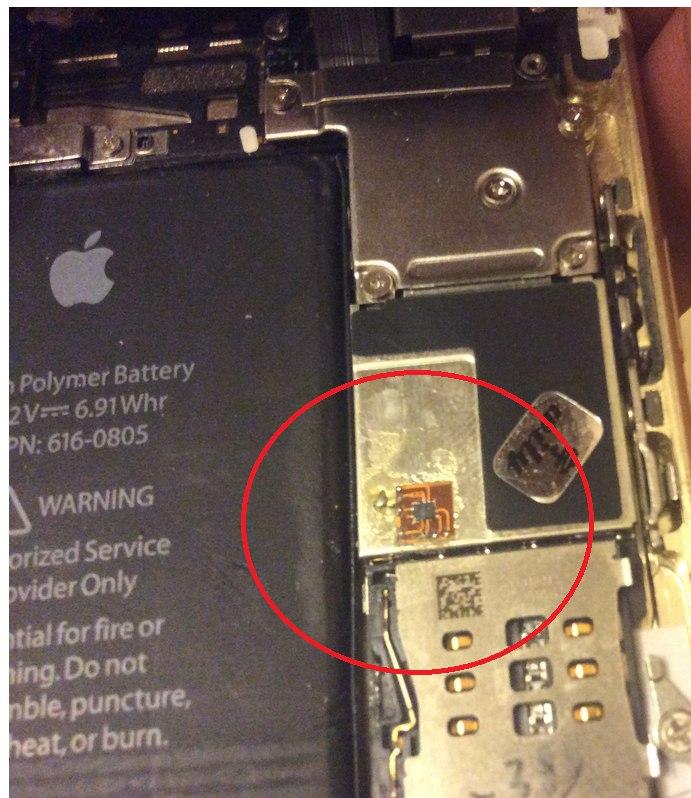 Впаянный чип в айфон