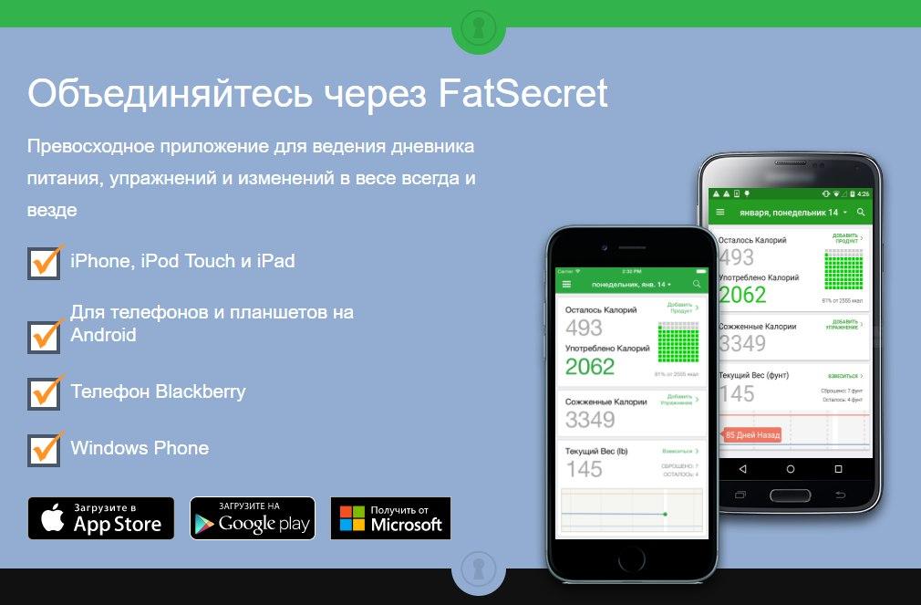 FatSecret счетчик ккал для похудения