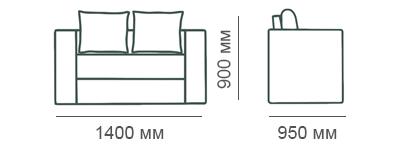 Габаритные размеры 2-местного дивана Карелия с ящиком
