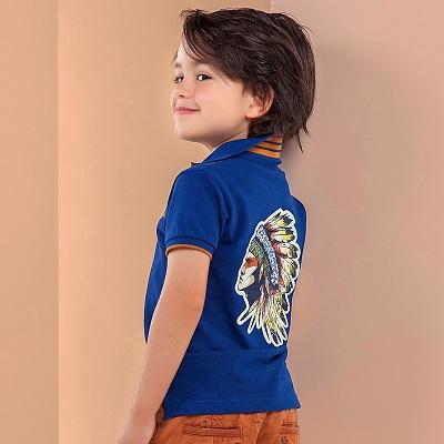 Одежда Mayoral Весна-Лето 2019, синяя футболка с ковбоями