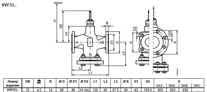 Размеры клапана регулирующего Siemens VVF53.15-1