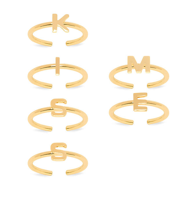 набор из 6 колец на фалангу и ногти золотистoгo цвета от Maria Francesca Pepe - Lover Nail