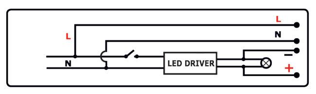 Схема подключения драйвера и светодиодного комплекта аварийного освещения