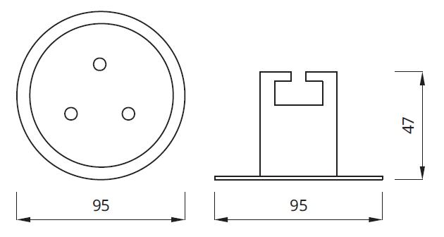 Размер аварийного светодиодного встраиваемого светильника EYE